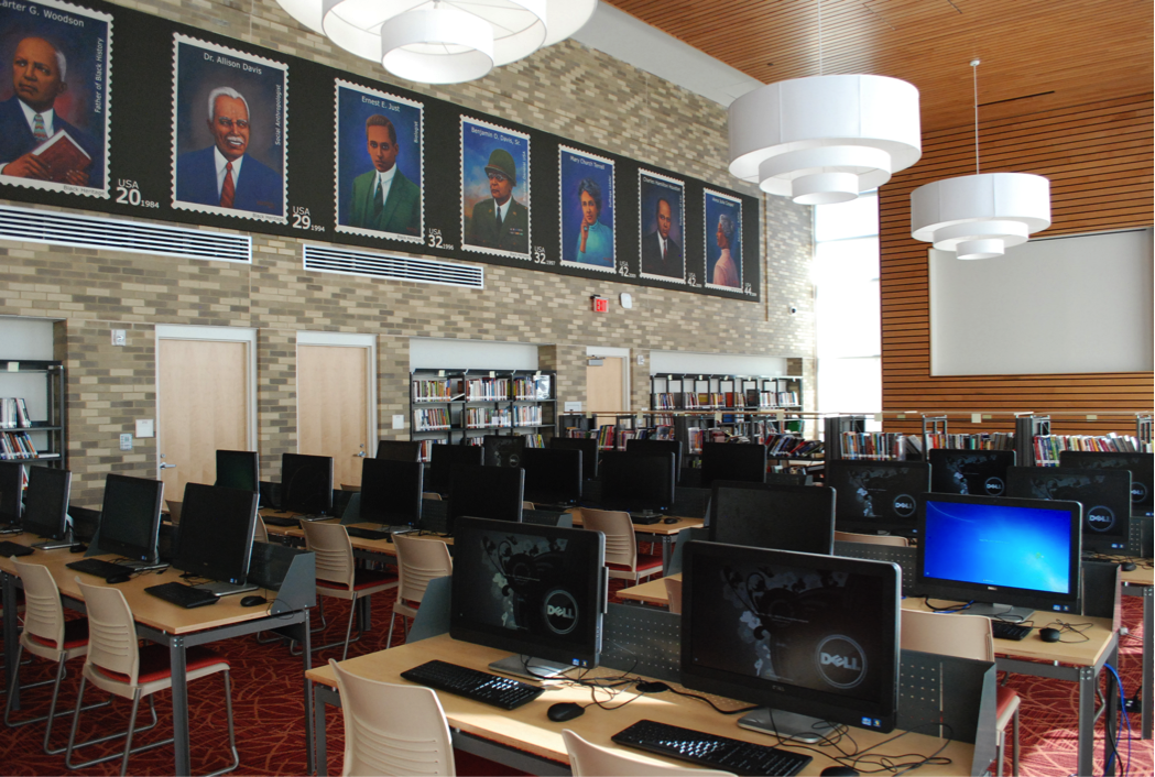 Dunbar High School Washington DC Uses BCI Modern Library Furniture As Part Of A 122 Million Project