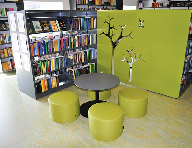 Drum Pouf for Modern Library Soft Seating