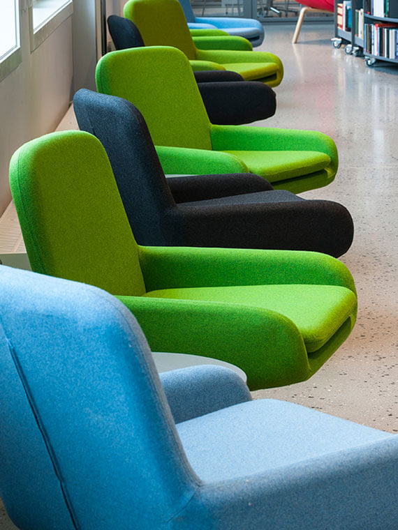 Row of colorful Coco Chairs